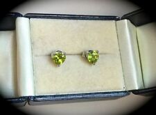Peridot Heart Not Enhanced Fine Earrings