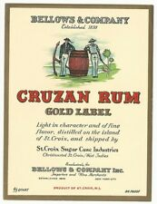 1940's Bellows & Co. Cruzan Rum Gold Label Label - New York, NY
