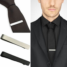 NEWLY Mens Stainless Steel Silver Tone Simple Necktie Tie Bar Clasp Clip Clamp