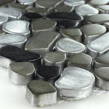 Design Edelstahl Metall Kiesel Mosaik Fliesen Black Silver