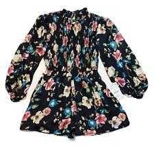 NWT Zara Woman Floral Print Jumpsuit Black Size S Small