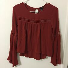 Forever21 Women's Blouse Terracota Long Sleeve Small Tunic  #120
