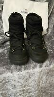 MONCLER UNISEX BLACK , SUEDE & LEATHER SNOW BOOTS SIZE UK 12-13