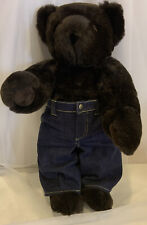 """Vermont Teddy Bear 16"""" Jointed Plush Black Bear With Jeans"""