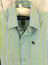 Abercrombie & Fitch Youth Boys Button Down Long Sleeve Shirt - Blue Stripes - L