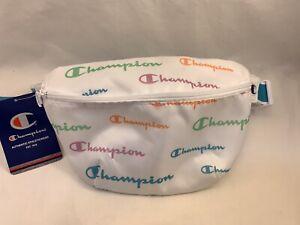 Champion Waist Bag Black Shoulder Fanny Pack C Logo zipper Waist Sling Bag WHITE