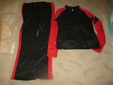 sweat suit 2 pieces alleson cheer leading new black/ red large