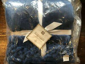 Pottery Barn Teen Bohemian Fringe Plush Throw Blanket 40x60 Navy Blue New