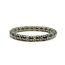 "Womens Magnetic Hematite Tuchi Pearl Citrine Crystal Bracelet 7.5"""