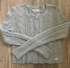 Womens Hollister Gray Cable Knit Button Front Cardigan Sweater- Size Small