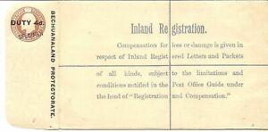 BECHUANALAND REGISTERED ENVELOPE 1906 4d ON 2d+1d H & G 8 SPECIMEN OVPT