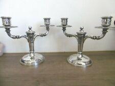 Ancienne paire candélabres bougeoirs  en métal argenté Lutetia No gallia