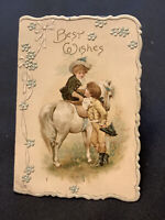 """3468🌟Antique c1890s  """"Best Wishes"""" Gal Side-Saddle White Horse Christmas Card"""