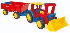 XXL Riesen Traktor mit Ladeschaufel und Anhänger Bauernhof 117cm Lader WADER