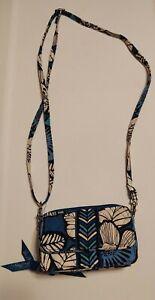 Vera Bradley Clutch Wallet Adjustable Strap Keyring Bayou Blue Multiple Pockets