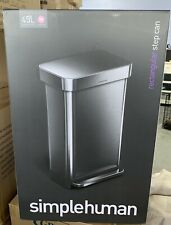 SIMPLEHUMAN 45L RECTANGLE STEP TRASH CAN, STAINLESS STEEL *DISTRESSED BOX
