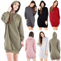 Ladies Oversized Loose Baggy Hooded LONGLINE Sweatshirt Tunic Jumper Dress Top