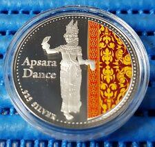 2001 Cambodia 3000 Riels Apsara Dance 925 Fine Silver Proof Colour Coin