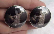 Vtg Siam Sterling Silver Niello Lakorn Ying Dancer Round Clip-On Earrings