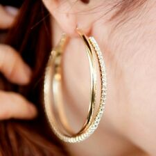 Sparkling 18 K Gold Plated Big Double Hoop Earrings with Clear Crystals Jewelry