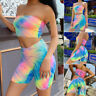 Women LaceUp Two-Piece Sports Romper Crop Top Shorts Jumpsuit Summer Set Outfits