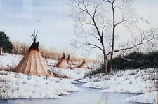 Ken Cargle American 20th C Watercolor Painting Tepees in a winter landscape
