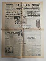 N311 La Une Du Journal La Meuse 17 août 1947 l'Angleterre donne une grande leçon