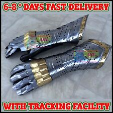 Medieval Gauntlet Pair w/ Brass Accent Norman Crusader Knight Armor Iron Gloves