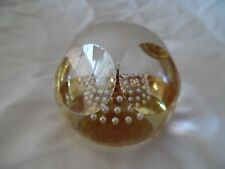 Beautiful Art Deco Art Glass Gold Paperweight with Controlled Bubbles