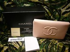 NEW BOX LARGE LONG CHANEL CC  ZIP AROUND PINK WALLET / CLUTCH