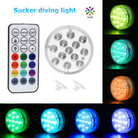 13 LED Submersible Light with Suction Cup RF Remote Control Underwater Lamp