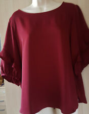Burgundy frill sleeve top size L fit size 14