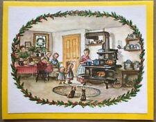 FINE Tasha Tudor Vintage Irene Dash Co Christmas Refurbished Card Kitchen Scene
