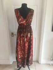 Kushi Brown Ladies Floral Print Sleeveless V Neck Long Maxi Dress Uk 8