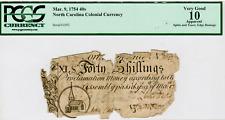 "MARCH 9 1754 - 40 SHILLINGS COLONIAL NORTH CAROLINA ""CHRIST CHURCH"" VG10 PMG"