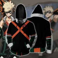 My Hero Academia Bakugou Katsuki Hoodie Zipper Sweatshirt 3D Printed Jacket Coat