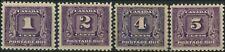 Mint H Canada 1930-32 F+ 1c-5c (4) Scott #J6-J9 Postage Due Stamps