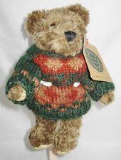 Boyds Bears - Plush - Green, Red & Rust Sweater - Brown Bear