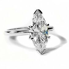 New 2.02 Ct. Marquise Cut Solitaire Diamond Ring 14K Gold GIA Certified F,SI1