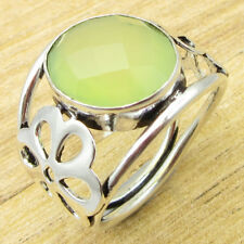 Fabulous Green Sea Chalcedony STUNNING Ring Size O ! Silver Plated Jewelry NEW