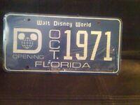 Walt Disney world grand opening october 1971 licence plate