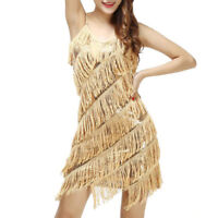 1920 vintage gatsby flapper charleston sequins fringes tassels gold dress UK8-16