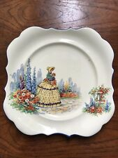 Vintage L & Sons Hanley English Ware Crinoline Lady Square Cake Plate