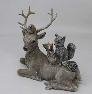 Large Stag Fox Owl Squirrel Hedgehog Robin Woodland Animals Figurine Ornament