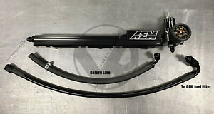 AEM B Series Fuel Rail / Regulator / Stainless Fuel Line / Gauge Combo Package