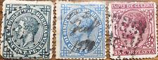 3 Sellos ESPAÑA Alfonso XII 1876 5c., 10c., y 15c. Edifil 183, 184 y 188 usados