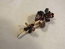 Beautiful Brooch Pin Flower Shape Red Black Enamel Red Rhinestones Sign AUSTRIA