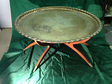 Danish Teak  Folding Spider Leg Table Large Brass Top Tray Mid Century MODERN