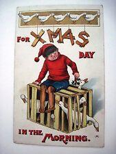 Vintage 1908 X-MAS Postcard w/ Boy Sitting on a Box of Ducks w/ Holly  *