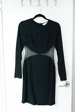 Stella McCartney Long Sleeve Mesh Cutout Cocktail Dress in Black Size 36